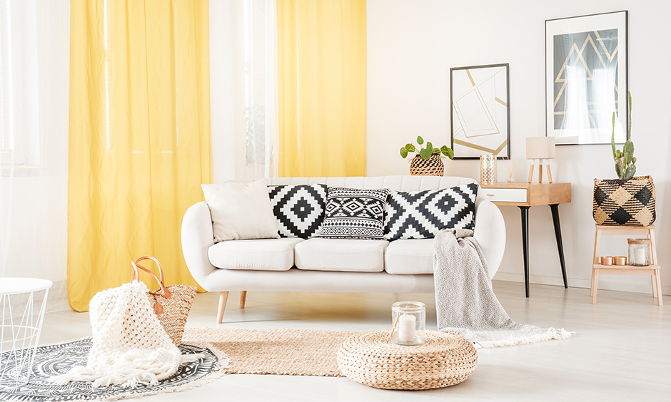 Curtain light yellow for living room, seamlessly textured yellow curtains bring in the fresh air in your living area.
