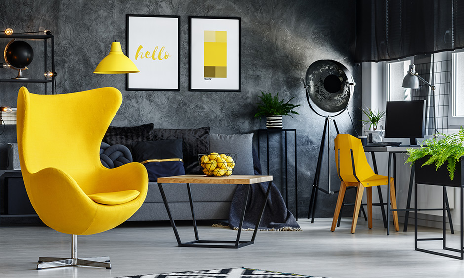 Yellow living room chair, a chic yellow chair makes for a convenient ergonomic choice along with all your other furniture.
