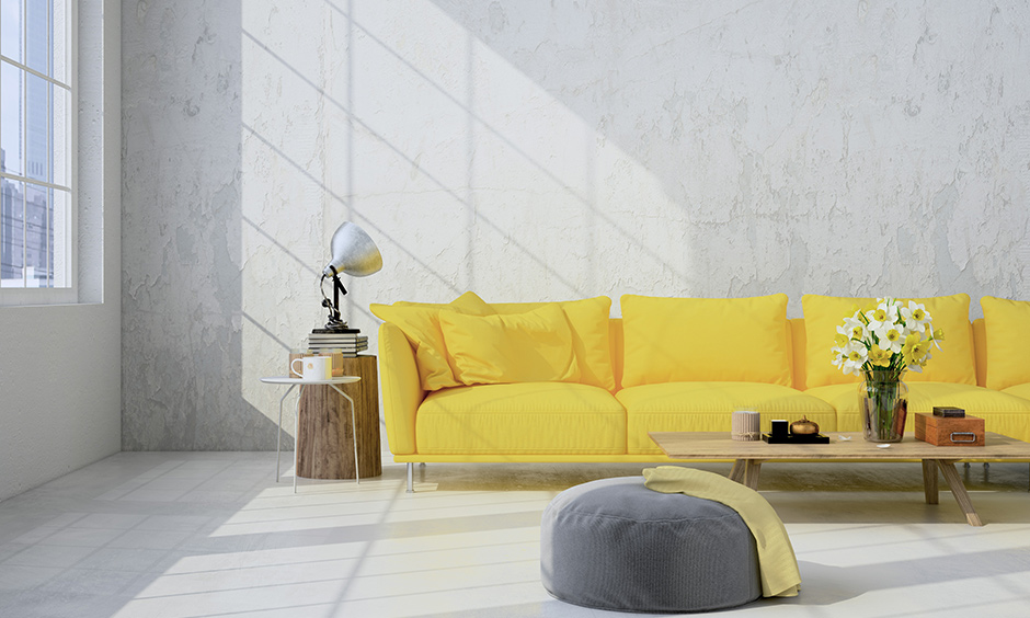 A yellow sofa in the living room creates an unusual and exciting space and will become the main focal point.