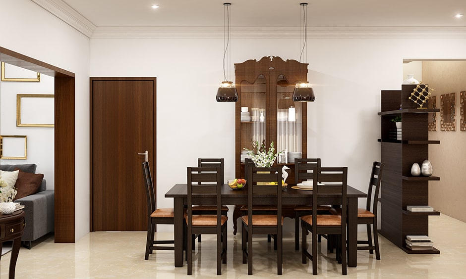 Dining room wall decor with a crockery cabinet to store and display collection