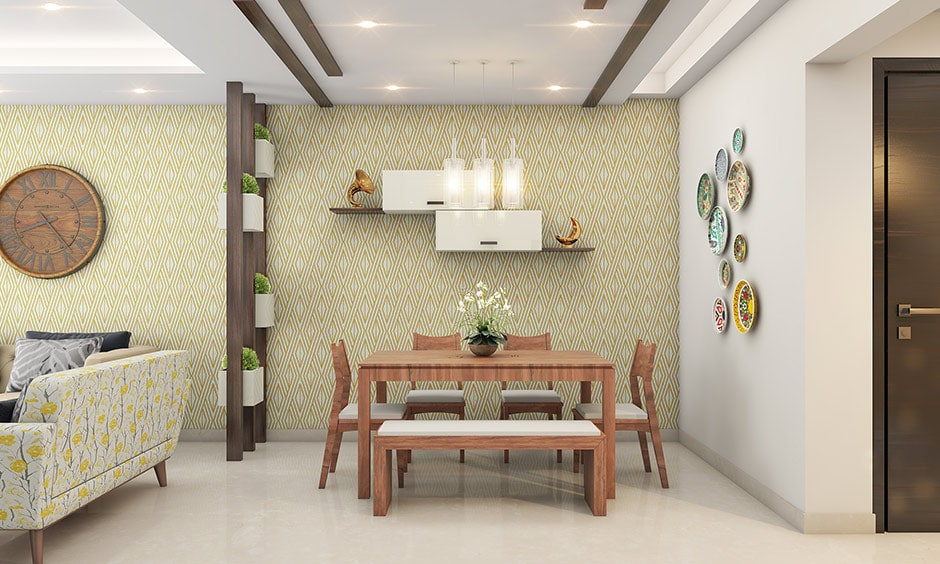 Dining room wall decor ideas with a wooden partition separate the space into two different zones