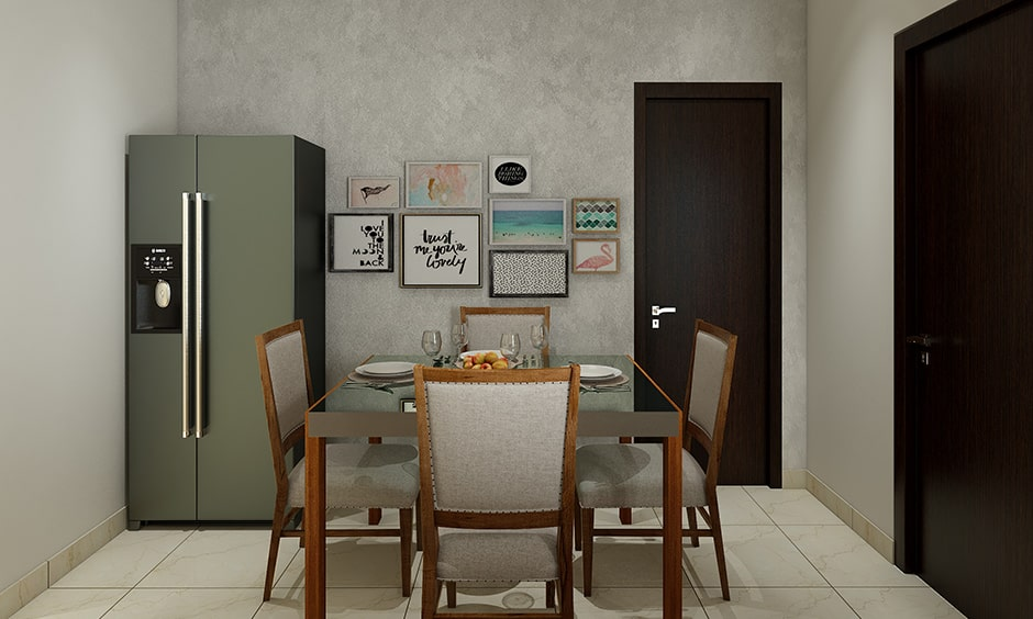 Modern dining room wall decor with family photos, snaps add fun to your space