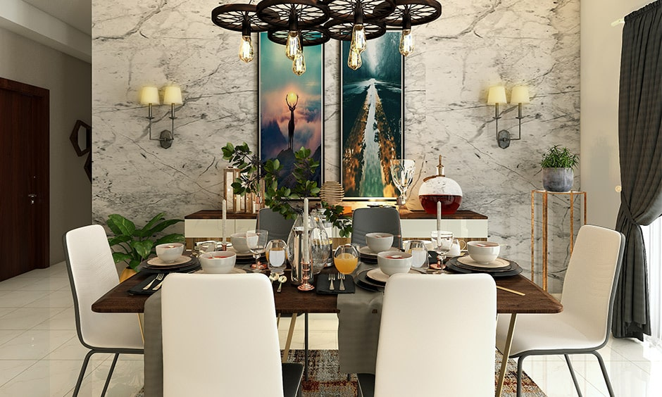 Modern dining room wall decor with an elegant lamps gives modern dining room decor