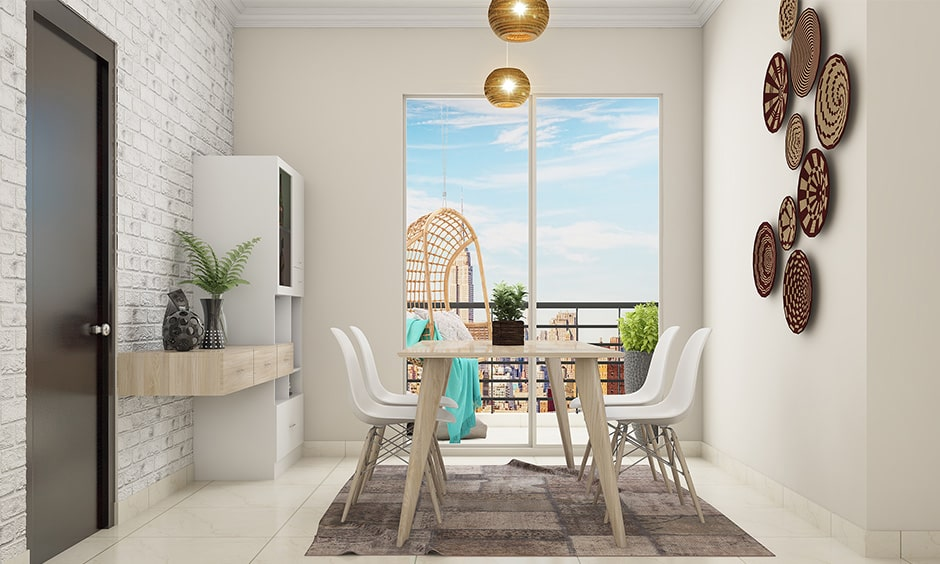 Modern dining room decor with 3d wall decor in dining area