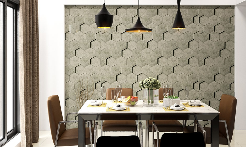 Modern dining room decor with textured walls makes beautiful dining room wall decor