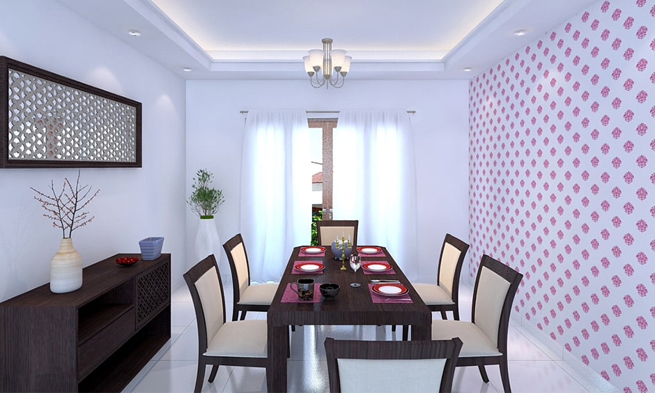 Modern dining room decor with patterned wallpaper