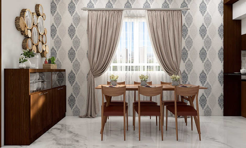 Simple dining room wall decor idea with curtains