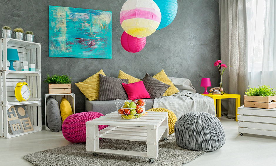 Peppy decorative accessories for living room like colorful balloon lamps, table accessories, and pillows bring happiness