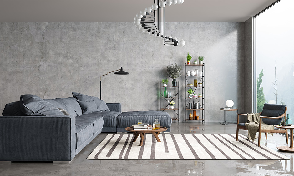 Grey living room accessories include elegant chandeliers, chic vases, succulents, and even terrariums are a great idea.