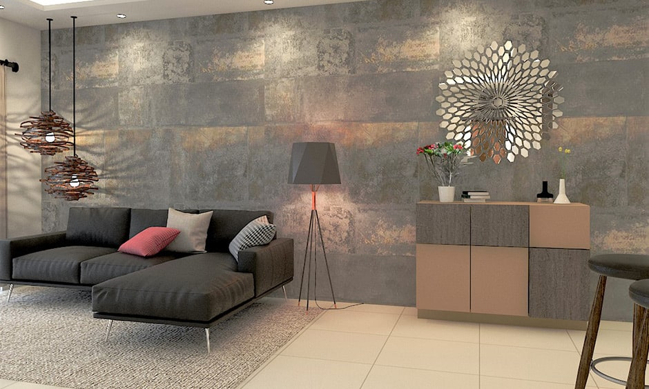 Brown and grey accent wall for a rustic look in grey living room