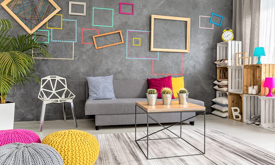 Grey living room with colorful photo frames for modern lifestyle couples