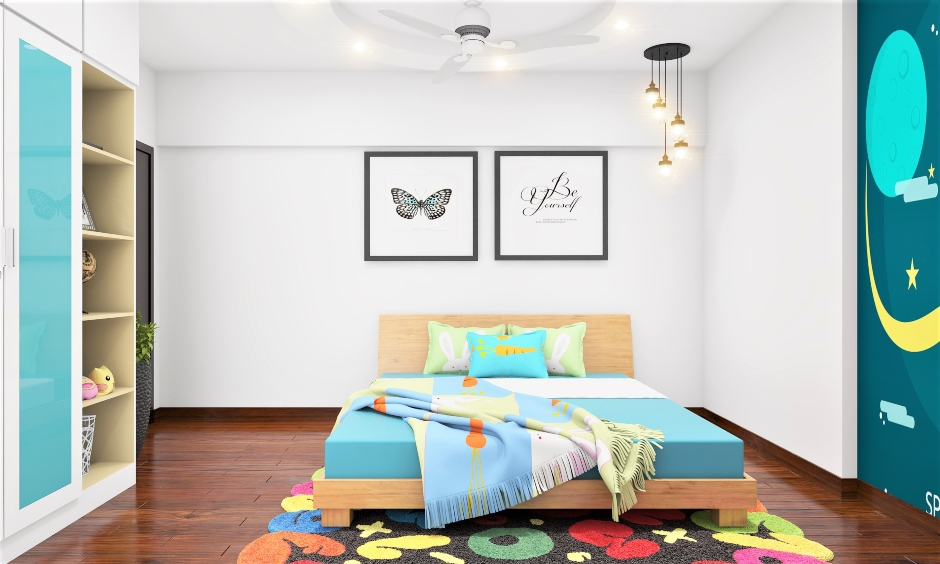 A blast of colours and light-toned wooden low floor bed design