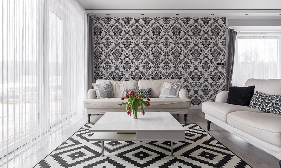 Contemporary living room with geometric patterns and subtle colours