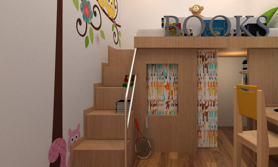 Bunk bed designs with mini library combo with guard railed stairs