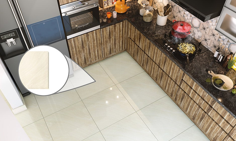 Vitrified tiles is a type of materials for kitchen flooring