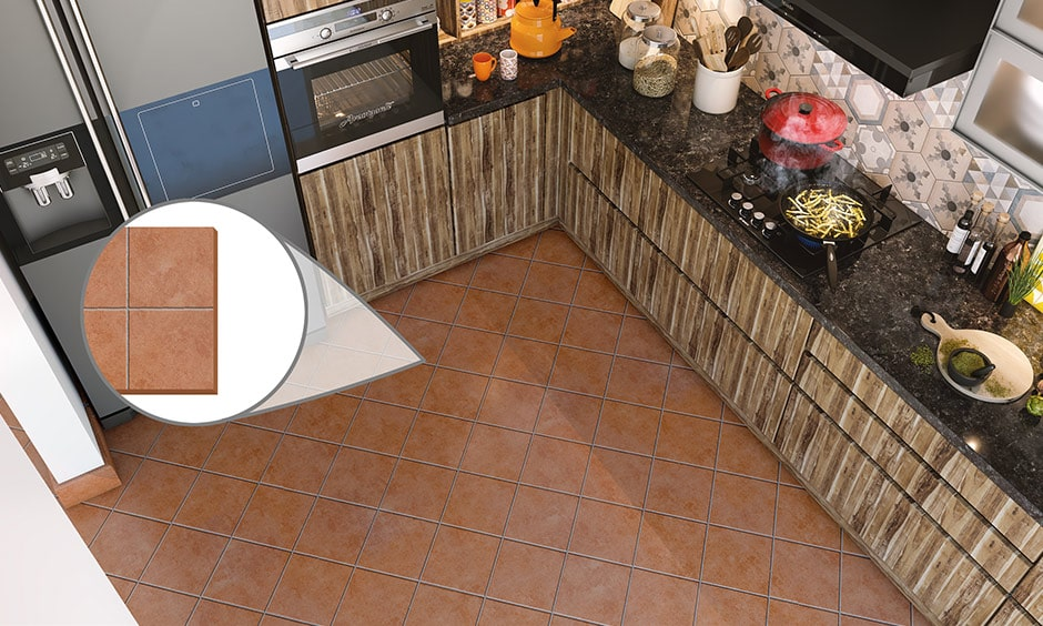 :Kitchen flooring terracotta material for indian homes