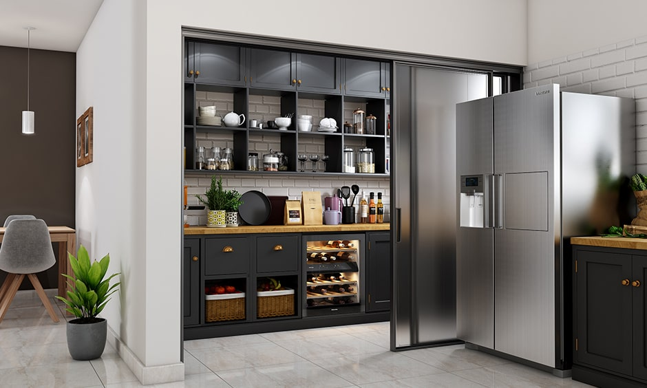 Kitchen pantry with ample space for racks drawers and cabinets to store all your kitchen essentials