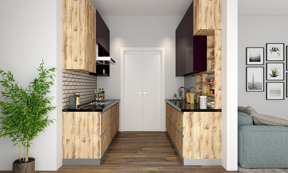 Parallel kitchen layout for small-sized homes or a small family