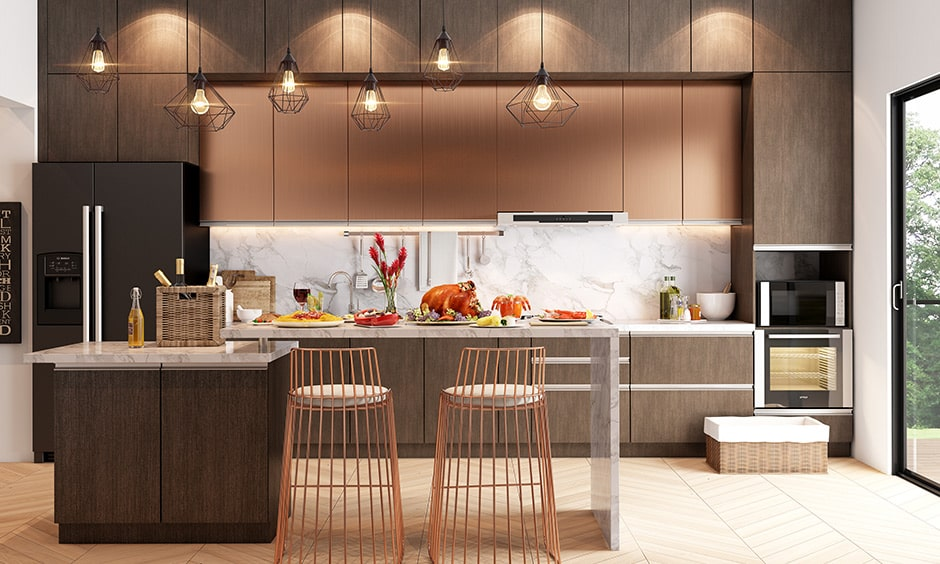Straight modular kitchen layout images for 1bhk apartment and studio apartment