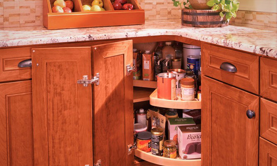 Corner kitchen cabinet lazy susan create easier accessibility to kitchen items without having to bend down