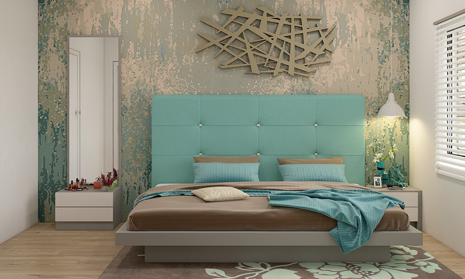 Light blue colour with a soft finish double bed headboard clean yet sophisticated look.