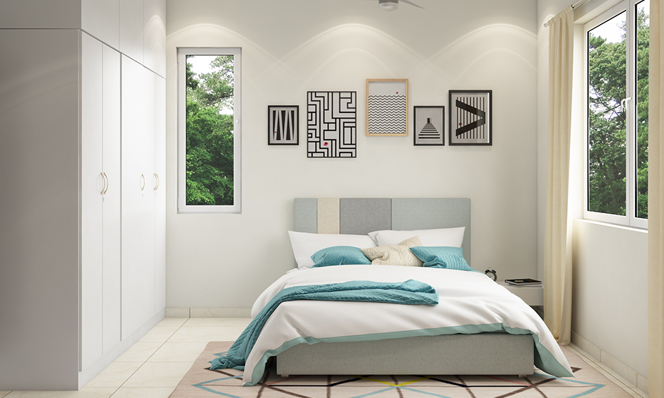 Icy blue queen size types of beds found in guest rooms, children's rooms, grandparents rooms.
