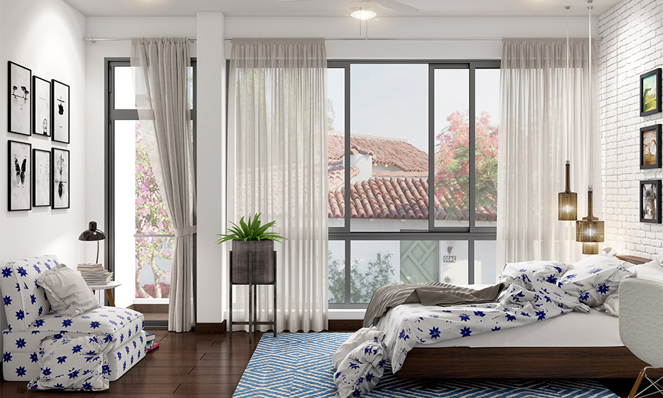 Patterned large bedroom rugs gels well with the clean and sophisticated design of bedroom