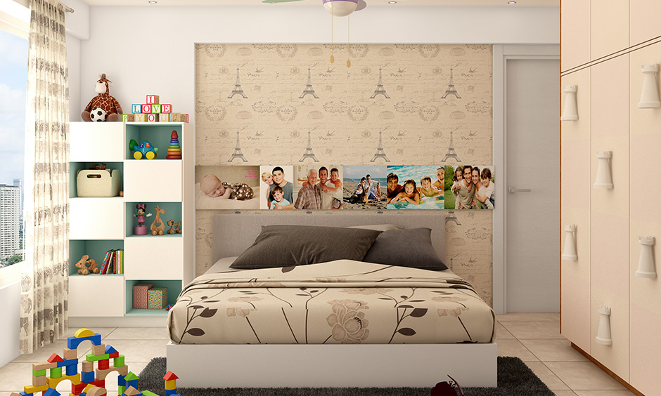 Organizing kids rooms storage with open and closed cabinet storage and a wardrobe keep surrounding neat and tidy