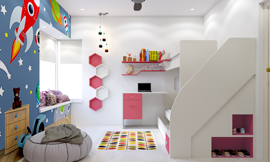 An inbuilt shelf at the side of a bunk bed is perfect for storing shoes is kids room storage ideas.