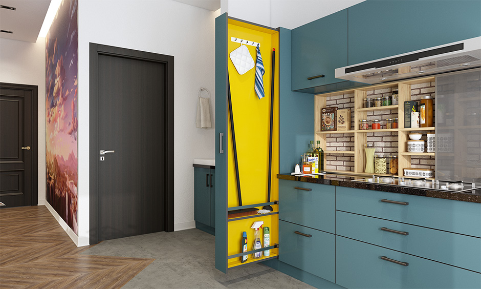 Blue out & yellow in colour accent janitor tall unit to hide away unsightly mops and brooms for a clean look in the kitchen.