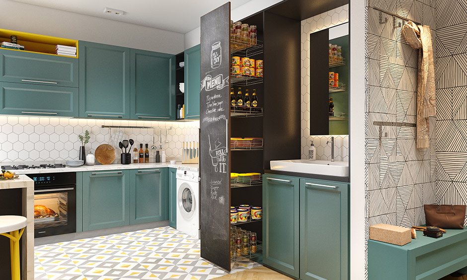 Tall unit pull-out pantry is a smart solution to stow away all your non-perishable groceries & it is customisable.