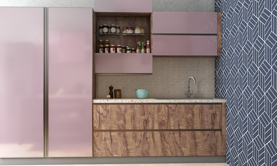 This pink bi-fold split shutter wall unit splits in the middle and opens vertically revealing deep storage behind it.