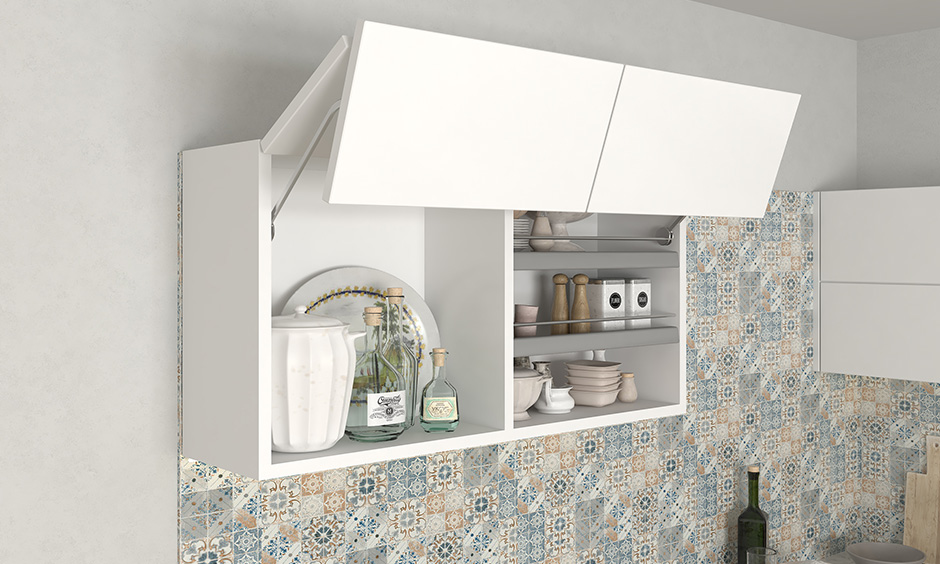 This white bifold lift-up shutter wall unit is a two-piece shutter that folds at the centre and lifts up vertically.