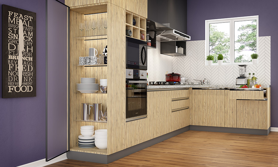 Open side with glass shelves tall unit to display crockery & lit up internally using LED strip light in your kitchen.