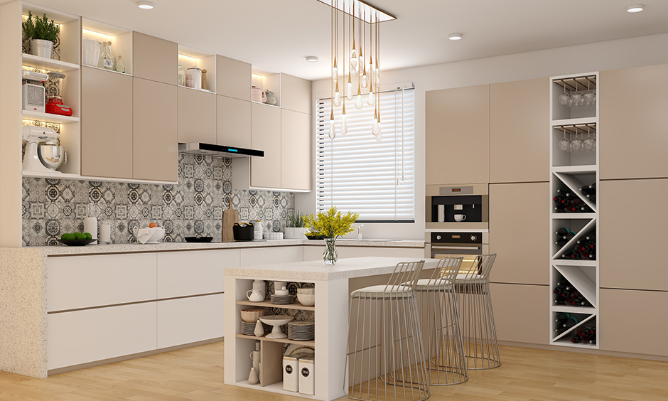 Tall unit with an open wine rack with a built-in microwave and oven has ample storage for all your cookware.