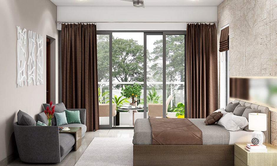 Couple bedroom design with an open balcony, it is a best bedroom design ideas for couples