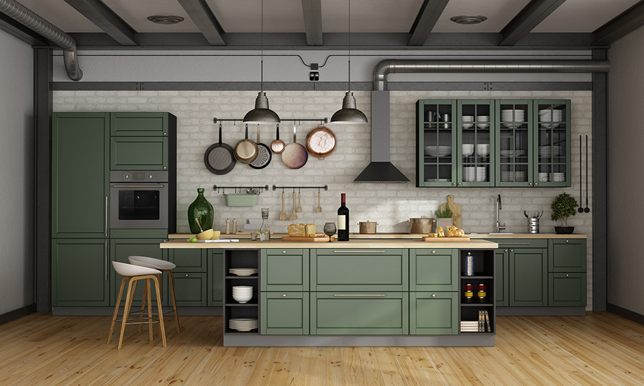 One wall kitchen layout with this olive green toned cabinets against a white brick wall look of the outback.