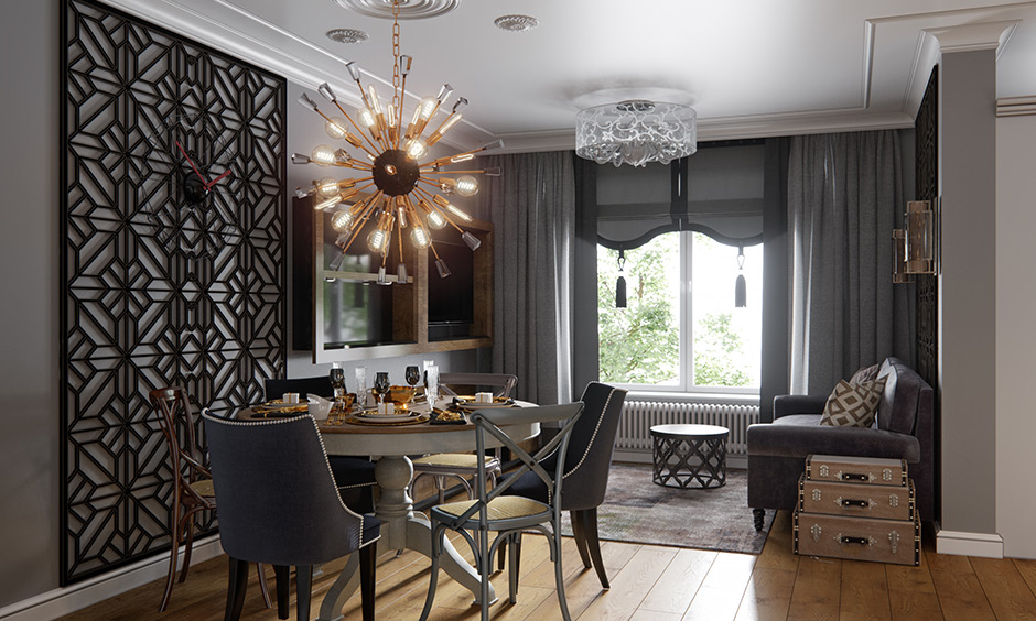 Vintage and modern interior design with chandeliers, an old dining table paired with modern chairs looks classier.