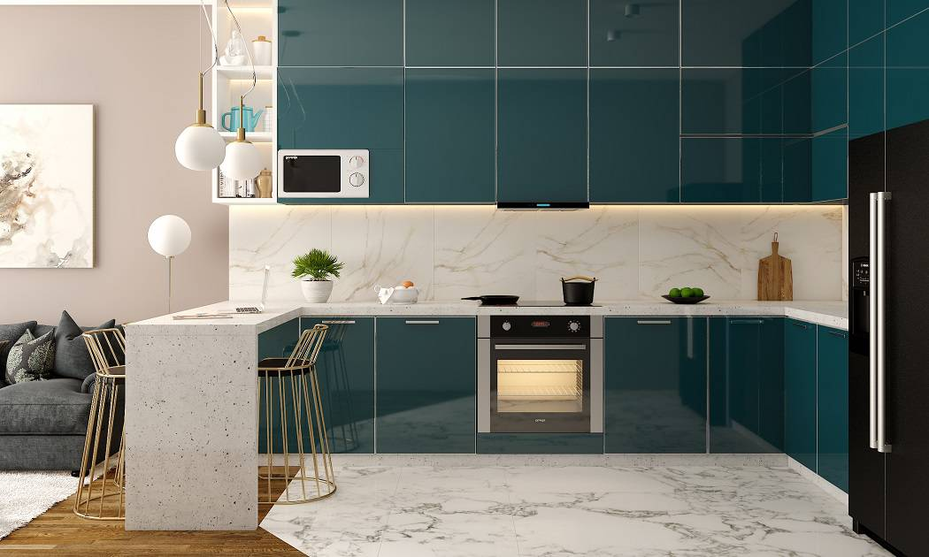 Aqua Blue Lacquered Glass Modular Kitchen designs customised for your kitchen interiors.