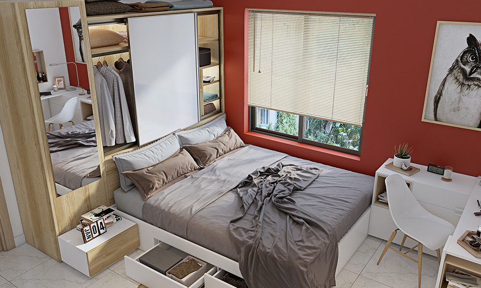 Sliding door wardrobe design for small bedroom with white laminate and shutters