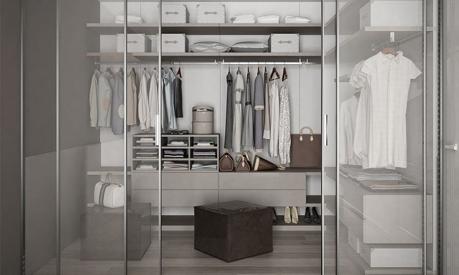 Glass 3 door sliding wardrobe design where you can't leave your wardrobe messy
