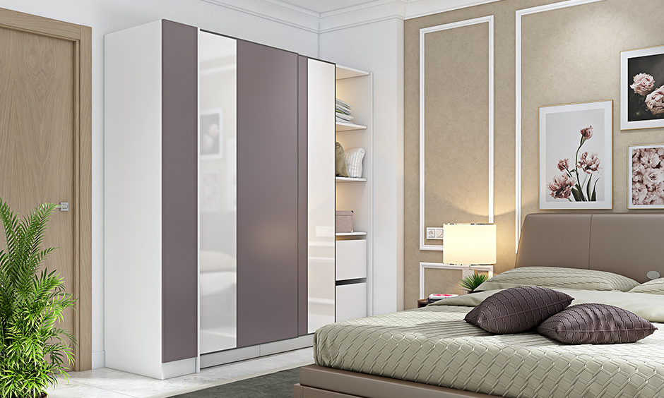 Wardrobe design ideas with sliding doors laminate and glass with hanging rods and slidding door wardrobe designn
