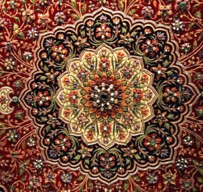 The delicate Zardozi Embroidery