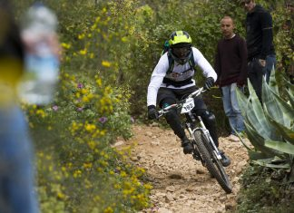 Biker balancing his bike