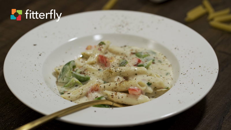 Vegetable Penne Pasta In White Sauce