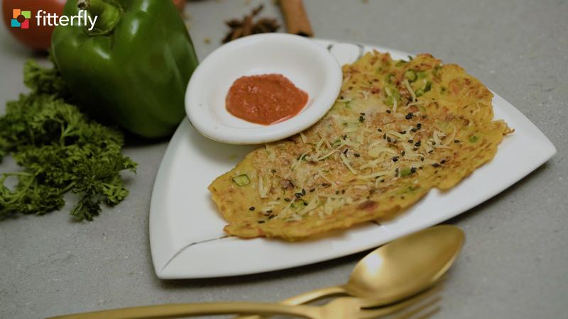 Veg Cheese Cheela with Garlic Chutney