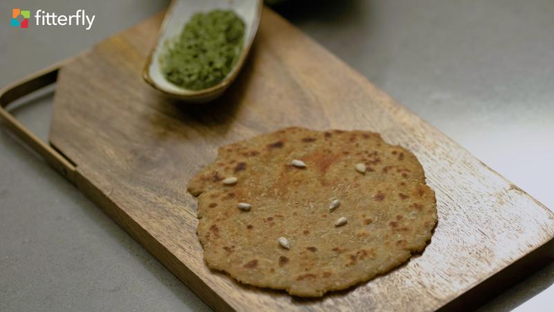 Gobi Paneer Paratha With Mint Chutney