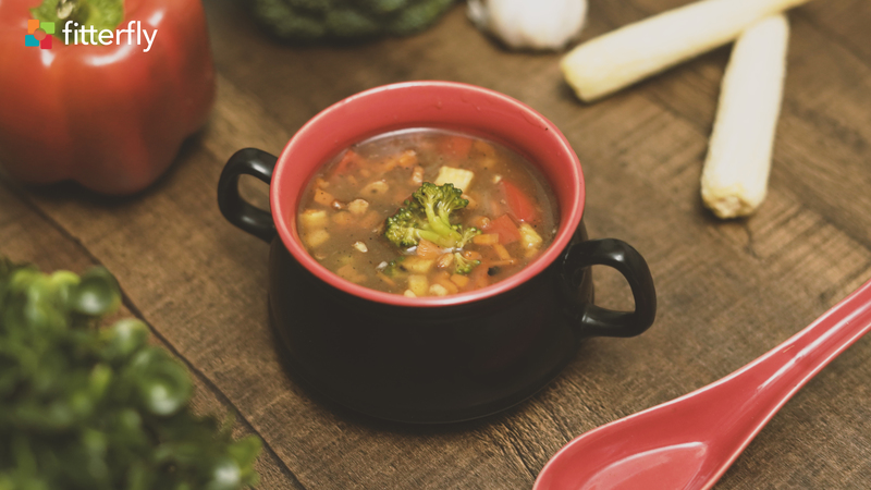 Burnt Garlic Vegetable Clear Soup With Butter