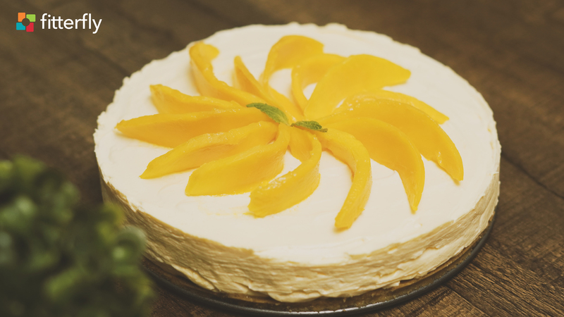 Eggless Mango Cheese Cake