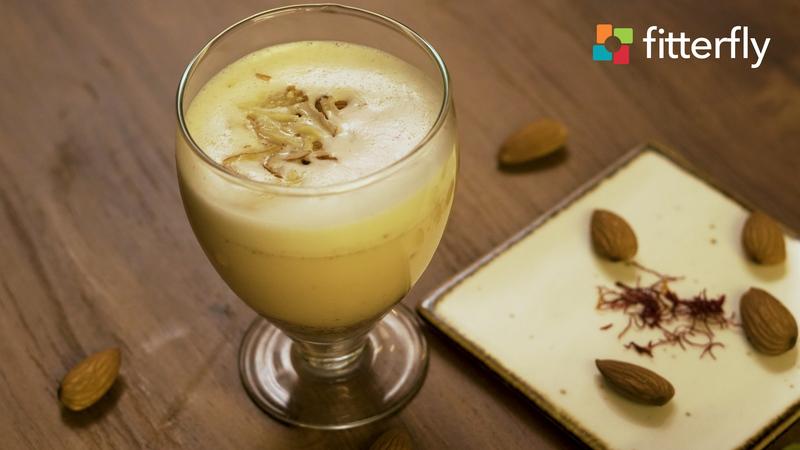 Almond Saffron Milk With Honey